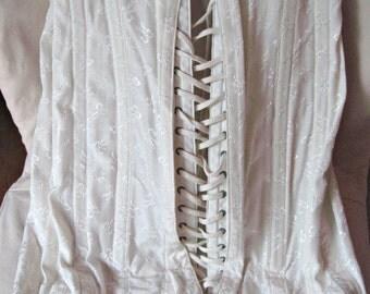 Vintage girdle, vintage bustier, made in USA, laced corset, steel boned corset, cotton corset, waist cincher, lace up corset
