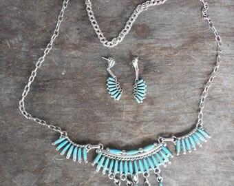 Vintage Zuni Sterling & Turquoise Needlepoint Fringe Necklace and Earring Set