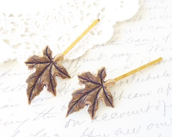 Ox Brass Leaf Hair Pins - Leaf Bobby Pin Set - Maple Leaf Hair Pins - Woodland Leaf Hair Accessory - Weding hair Pin - Bridal Bobby Pins