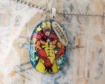 Pyro Resin Pendant from Recycled Avengers Comic Book Superhero Jewelry