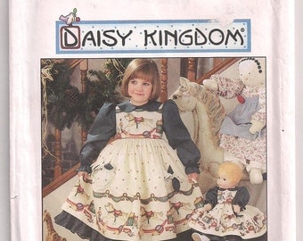 Daisy Kingdom Simplicity 7304 Dress and Pinafore Childs and Doll Dress, Party Dress, Special Occasion, 18 inch Doll Clothes, Girls 5 6 7 8