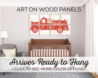 Large Fire Truck Baby Nursery Art - Perfect Wall Art for Fire Truck Themed Bedroom + More Color Options