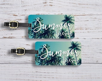 Luggage Tag Set Summer Forever Palm Tree Sky Metal Luggage Tag Set With Printed Custom Info On Back, 2 Tags Choice of Straps