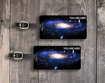 Milky Way Galaxy You are Here Funny Space Luggage Tag Set - Printed Personalized Backs Custom Luggage Tag Set - 2 Tags with Straps