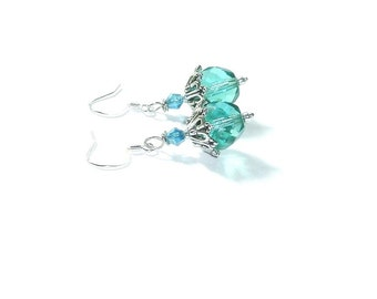 Blue  Zircon  Crystal  Earrings , Swarovski Crystal Dangles, Sterling Silver  , Gift for Her