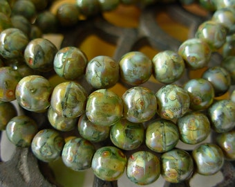 Czech Picasso Beads, Czech Glass Beads, 6mm Round- Variegated Picasso (30)