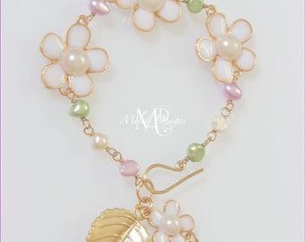 Freshwater Pearl Flower Bracelet White Green Purple Gold
