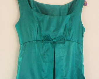 vintage 60s dress, emerald green dress, green evening dress, red carpet dress, long green dress, 60s green dress, XS XXS