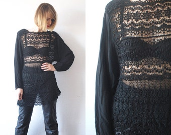 SALE...80s 90s gothic top. slouch sheer top. black lace top. gothic tunic - medium, large
