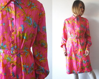 60s psychedelic dress. bright pink dress. 60s silk dress - large