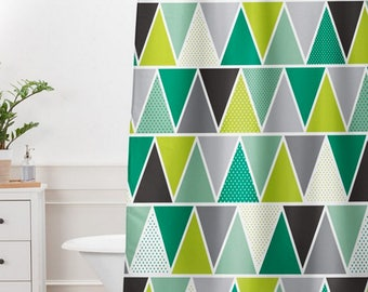 Modern Geometric Shower Curtain // Bathroom // Emerald Triangulum Design // Modern Geometric // Shower // Bathroom Decor // Green & Gray