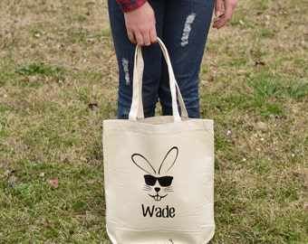Easter Bunny Tote, Boy, Personalized, Hip, Trendy, Nontraditional