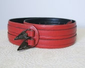 Vintage Belt Red Wide Belt Double Hole Cinch Leather Belt Size Small - Medium