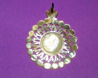"Mother of Pearl Carved Shell 2"" Long Pendant"