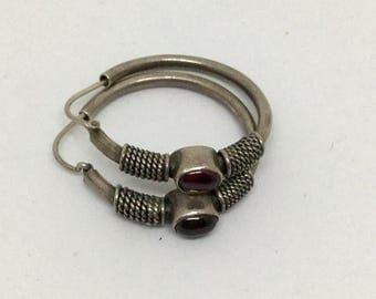Clearance Sterling Silver 925 Garnet Hoop Earrings