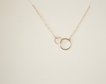simple silver necklace, minimal silver necklace, two small circles, connected circles, delicate necklace, bridesmaids gift, gold circle N101
