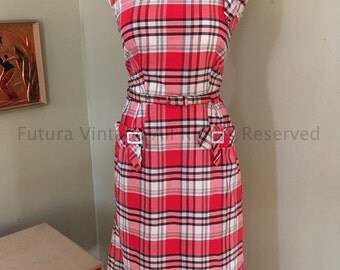 1950s Adorable KAY WHITNEY Red and White Plaid Cotton Sundress with Buckle Adornment and Matching Belt-S