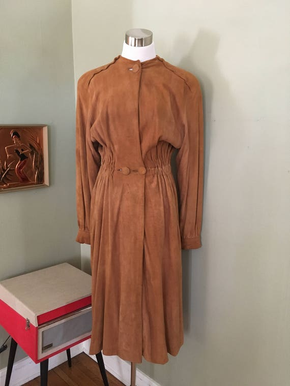 1940s Dorothy Thompson of California Desmonds Glamorous Caramel Long Suede Dress Coat Noir -S M