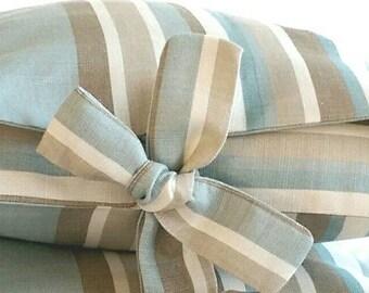 SALE Handmade Cordelia Stripe Linen Tied Pillow Cover