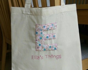 Lillyblossom Jewelled Initial Totes. Calico tote bag with hand beaded initial & freehand text. School bag grocery bag sequins beads