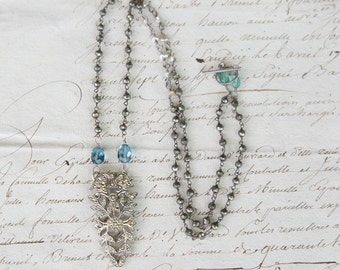 Antique Assemblage Vintage Revival Necklace with French Paste Dress Clip Pendant London Blue Topaz and Pyrite
