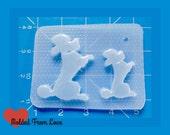 SALE 2 Retro Begging Mid Century Poodles Handmade Flexible Plastic Resin Mold