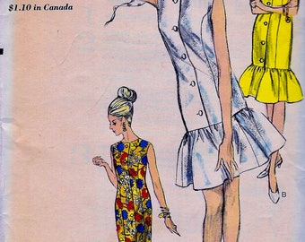 UNCUT * Vintage Vogue Pattern 6156  - Semi-fitted Gathered Flounce Princess Dress in 3 Lengths   - Size 14 * bust 34