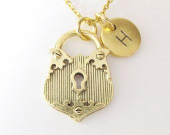Lock Necklace, Padlock Necklace, Personalized, Initial Necklace, Monogram Necklace, Antique Gold, Vintage Lock, Victorian Lock, Z415