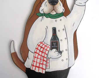 """Made to Order Hand Painted Basset Hound Wall Art - """"Chef Maurice Noir"""""""