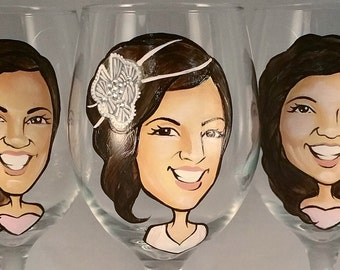 Custom Maid of Honor Gift - Hand Painted Wine Glass - Caricature - Cool Bridesmaid Gift - Hand Painted Bridesmaid Wine Glasses