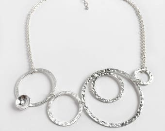 Silver Circles Bib Necklace - Large Silver Statement Necklace - Hammered Sterling Silver Jewelry