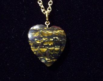 Geniune Tiger Eye Gemstone Heart Pendant Necklace