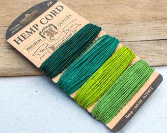 Green Hemp Twine, 1mm, Green Twine, Hemp Twine Cord, Scrapbooking Twine -CH47