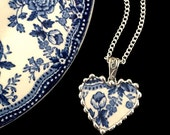 Broken recycled china jewelry necklace heart pendant antique Victorian blue floral English transferware