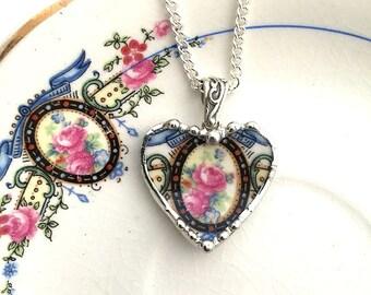 Broken china jewelry heart pendant beautiful pink roses