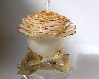 White & Gold 50th Wedding Anniversary, Gifts for Parents, Golden Anniversary, Vow Renewal Gift, Unique Beeswax Glitter Rose Candles Handmade