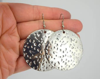 Large Shiny Silver Medallion Earrings, Round Decorative Antiqued Silver Earrings, Silver Earrings, Textured Earrings, Gift under 30