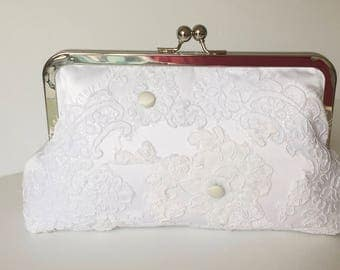BRIDAL HEIRLOOM CLUTCH, Repurpose old wedding dress into a bridal clutch, wedding clutch  dress -  Made from Moms Dress - or formal