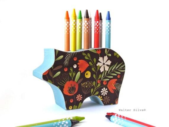 Wild Floral Pig Crayon Holder - Magic Marker storage - Back To School Organizer - Pig Pencil, Pens Holder - Kids Crayon Organizer