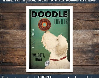 FREE CUSTOMIZATION Doodle Labradoodle Goldendoodle Donut Cafe Bakery Sign Archival Giclee Print