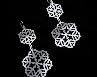Sterling Silver Snowflake Statement Earrings - Gothic Tracery - WINTER ROSE WINDOW