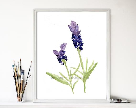 art print Lavender, lavender watercolor, botanical print, purple lavender, herb art, mothers day, kitchen art, home decor