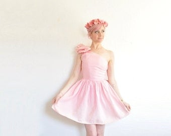 pink BOW party dress . 1980 one shoulder mini prom gown .extra extra small.xxs .sale