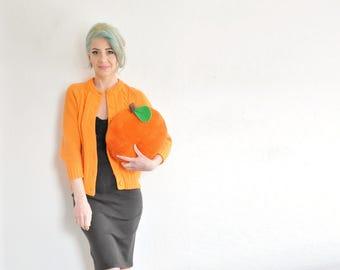 bright mod tangerine cardigan . 1960 cable knit granny sweater .small.medium