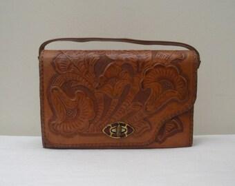 Vintage Tooled Reversible Leather Purse - Handbag