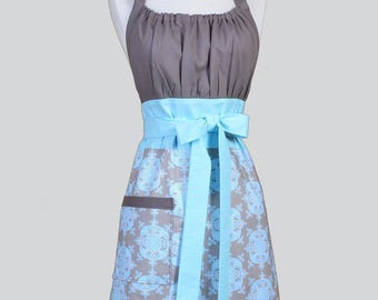 Cute Kitsch Womens Apron - Taupe and Blue Damask Elegant Retro Vintage Style Kitchen Cooking Apron with Pockets Ideal Wedding or Bridal Gift