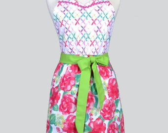Blossom Womens Full Apron / Summer Love Fabrics in Large Pink Floral Womans Retro Vintage Style Cute Kitchen Apron with Pockets