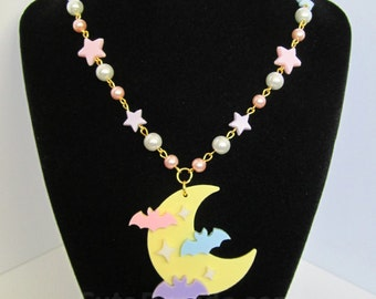 Pastel Rainbow Bats in Flight Acrylic Moon Necklace Kawaii Fairy Kei Creepy Cute