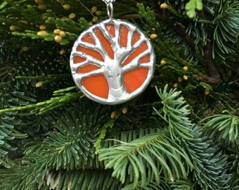 Orange and silver small  stained glass oak tree, tree of life, toomer's corner, Auburn pendant
