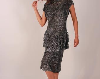 Vintage 80s High Neck Sparkly Silver Dress